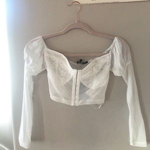 New, lace corset detail all mesh shirt in ivory